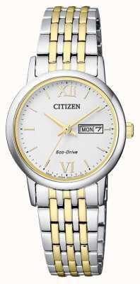 Citizen | eco-drive para mulher | pulseira de dois tons | mostrador prateado | EW3254-87A