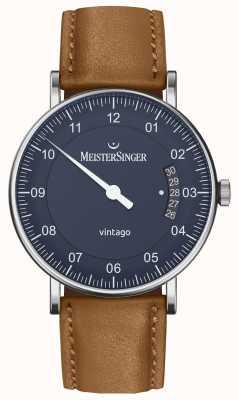 MeisterSinger | vintago para homem | automático | couro marrom | mostrador azul VT908