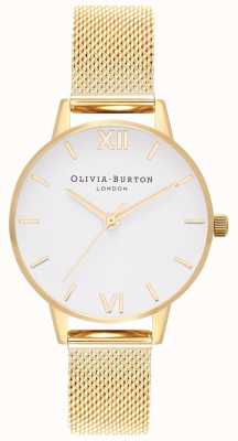 Olivia Burton | mulheres | pulseira de malha de ouro | mostrador branco | OB16MDW35