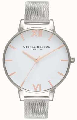Olivia Burton | mulheres | mostrador branco | pulseira em malha de prata | OB16BD97