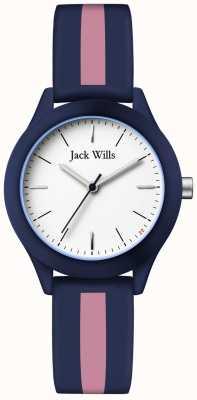 Jack Wills | união das mulheres | mostrador branco | correia de silicone azul marinho / rosa | JW008BLPST