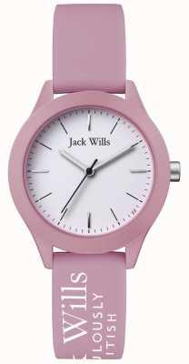 Jack Wills | união das mulheres | mostrador branco | pulseira de silicone rosa | JW008PKWH