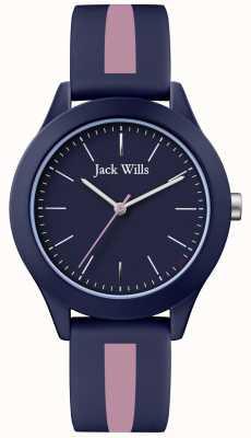 Jack Wills | união de mens | mostrador naval | pulseira de silicone rosa / marinha | JW009BLPST
