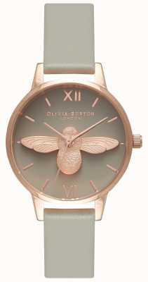 Olivia Burton | mulheres | Abelha 3d | pulseira de couro cinza | OB15AM77