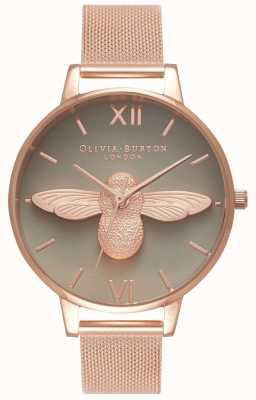 Olivia Burton | mulheres | Abelha 3d | pulseira de malha de ouro rosa | mostrador cinza | OB16AM117