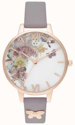 Olivia Burton | mulheres | jardim encantado | pulseira de couro lilás cinza | OB16EG129