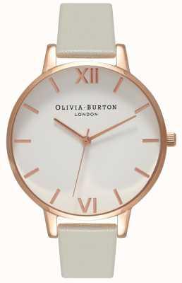 Olivia Burton | mulheres | mostrador branco | pulseira de couro cinza | OB15BDW02