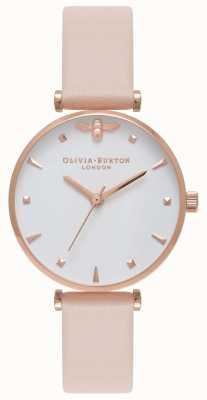 Olivia Burton | mulheres | abelha rainha | pulseira de couro nude pêssego t bar | OB16AM95