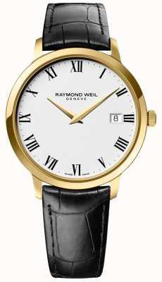 Raymond Weil | mens toccata | caixa de ouro | pulseira de couro preto | 5588-PC-00300