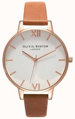 Olivia Burton | mulheres | grande mostrador branco | pulseira de couro tan | OB16BDW19