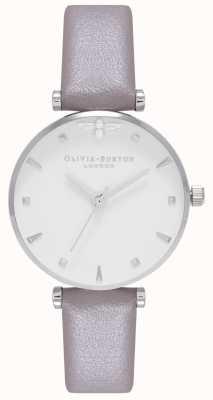 Olivia Burton | mulheres | abelha rainha | pulseira de couro cinza | OB16AM144