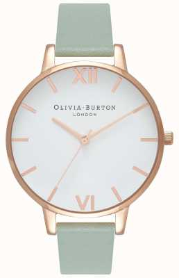 Olivia Burton | mulheres | grande mostrador branco | pulseira de couro de menta | OB16BDW27