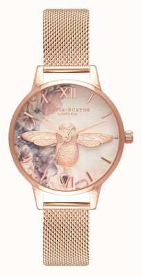 Olivia Burton | mulheres | abelha florais em aquarela | malha de ouro rosa | OB16PP40