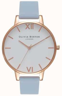 Olivia Burton | mulheres | grande mostrador branco | pulseira azul giz | OB16BDW18