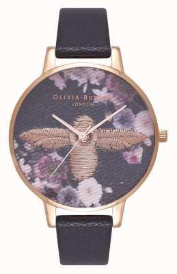 Olivia Burton | mulheres | mostrador de abelha 3d bordado | pulseira de couro preto | OB16EM02