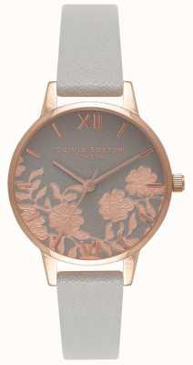 Olivia Burton | mulheres | mostrador de detalhes de renda | pulseira de couro cinza | OB16MV58