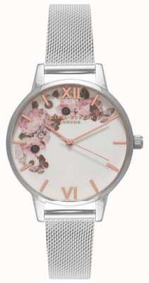 Olivia Burton | mulheres | mostrador floral de assinatura | pulseira de malha de aço | OB16WG30