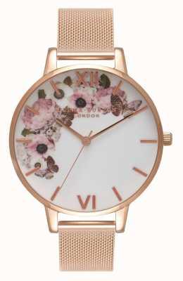 Olivia Burton | mulheres | mostrador floral de assinatura | pulseira de malha de ouro rosa | OB16WG18