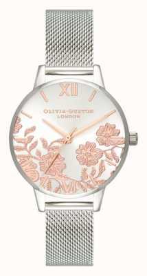 Olivia Burton | mulheres | detalhe de renda | pulseira de malha de aço inoxidável | OB16MV90