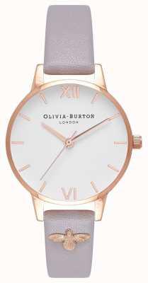 Olivia Burton   mulheres   Abelha 3d   couro embelezado cinza lilás   OB16ES11
