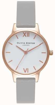 Olivia Burton | mulheres | mostrador branco | pulseira de couro cinza | OB16MDW05