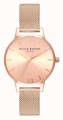 Olivia Burton | mulheres | midi | discagem sunray | pulseira de malha de ouro rosa | OB16MD84
