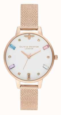 Olivia Burton | mulheres | abelha arco-íris | boucle pulseira de malha de ouro rosa | OB16RB15