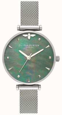Olivia Burton | mulheres | abelha rainha | pérola pulseira de malha de aço | OB16AM151