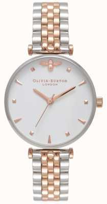 Olivia Burton | mulheres | abelha rainha | pulseira de dois tons t bar | OB16AM93