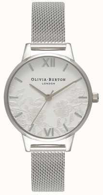 Olivia Burton | mulheres | detalhe de renda | pulseira de malha de aço inoxidável | OB16MV54