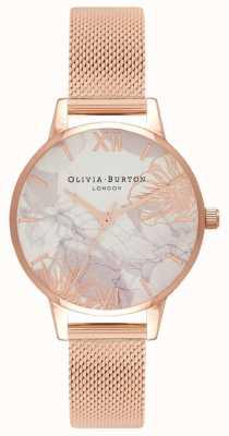 Olivia Burton | mulheres | florais abstratos | pulseira em malha de ouro rosa | OB16VM11