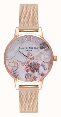 Olivia Burton | mulheres | florais em mármore | pulseira em malha de ouro rosa | OB16CS06