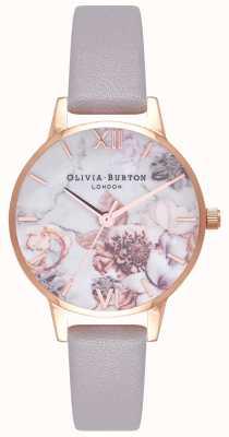 Olivia Burton | mulheres | florais em mármore | pulseira de couro lilás cinza | OB16CS14