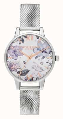 Olivia Burton | mulheres | flores de bejeweled | pulseira de malha de prata midi | OB16BF26