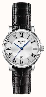 Tissot | carson classic | pulseira de couro preto | mostrador prateado | T1222101603300