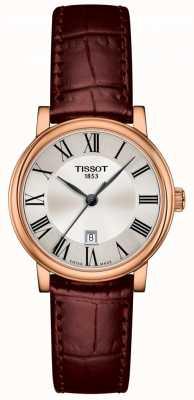 Tissot | senhora carson premium | pulseira de couro marrom | T1222103603300