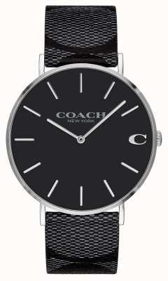 Coach | mens | assinatura | charles | couro preto | 14602157