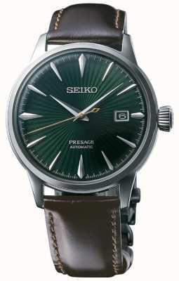 Seiko Presage pulseira de couro marrom automático 'cocktail time' dial marrom SRPD37J1