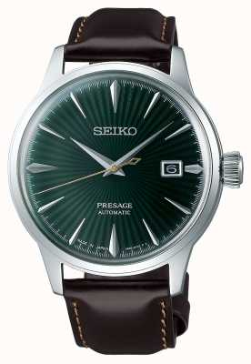 Seiko Pulseira de couro marrom Presage com mostrador verde automático SRPD37J1