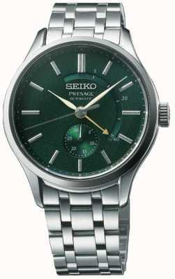 Seiko Presage 'hora do coquetel' automático zen jardim verde mostrador de aço inoxidável SSA397J1