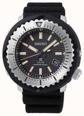 Seiko Prospex solar homens de discagem preta do mergulhador de 200m pulseira preta silv SNE541P1