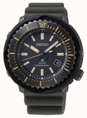 Seiko 200 m do mergulhador de mostrador preto masculino Prospex solar | pulseira verde | SNE543P1