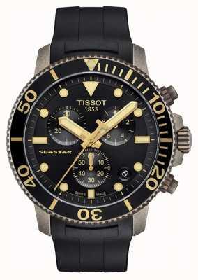 Tissot | mens seastar | mostrador preto cronógrafo | pulseira de borracha preta T1204173705101