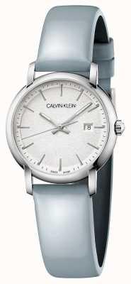 Calvin Klein | mulheres estabelecidas | pulseira de couro azul | mostrador prateado | K9H231V6