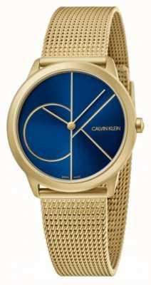 Calvin Klein Mínimo | pulseira de malha de ouro | mostrador azul | K3M5255N