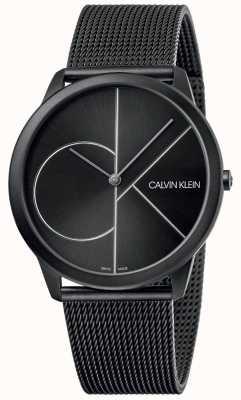 Calvin Klein Mínimo   pulseira de malha preta   mostrador preto   K3M5T451