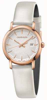 Calvin Klein | mulheres estabelecidas | pulseira de couro branco | mostrador prateado | K9H236L6