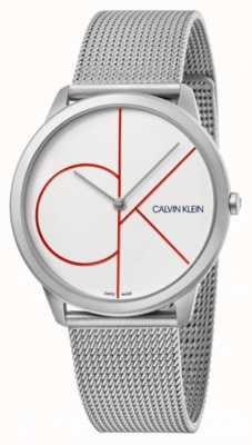 Calvin Klein Mínimo | pulseira de malha de prata | mostrador branco | K3M51152