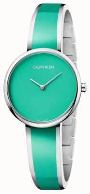 Calvin Klein | seduzir mulheres | pulseira de resina verde de aço inoxidável | K4E2N11L