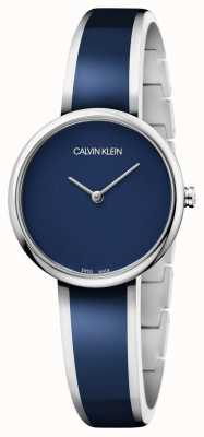 Calvin Klein | seduzir mulheres | pulseira de resina azul de aço inoxidável | K4E2N11N